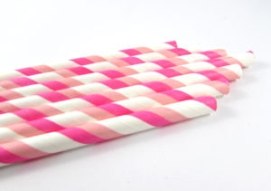 Double Pink and White Straws