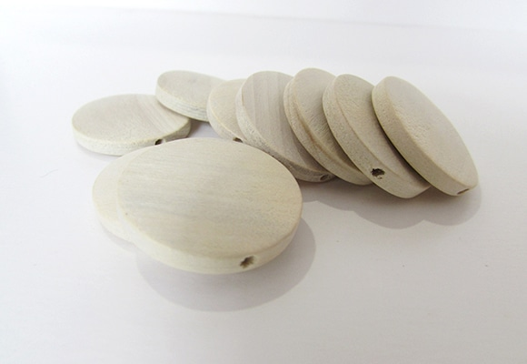 10 Flat Round Natural Unfinished Wooden Beads 20mm