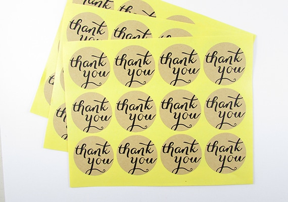 36 Thank you stickers