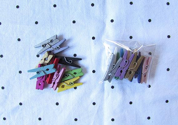 Coloured Mini Clothes Pegs