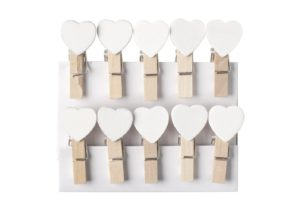 Mini Wooden White Heart Pegs (Pack of 10)