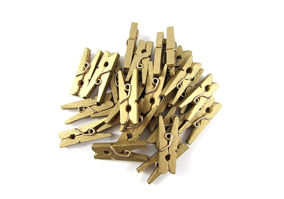 25 Gold Mini Clothes Pegs Pins 25mm