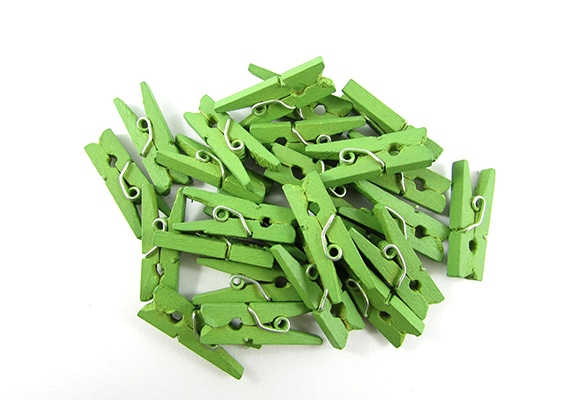 25 Light Green Mini Clothes Pegs Pins 25mm