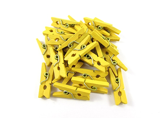 25 Yellow Mini Clothes Pegs Pins 25mm