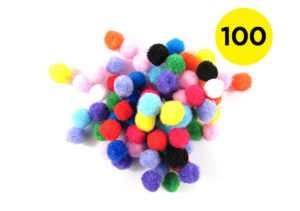 100 Multicoloured 10mm Pom Poms