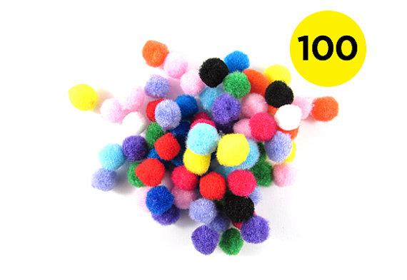 100 Multicoloured 10mm Pom Poms