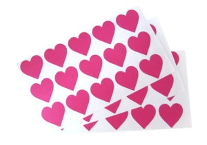 Small Dark Pink Heart Stickers