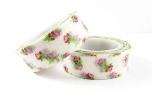 White Floral Pattern Washi Tape