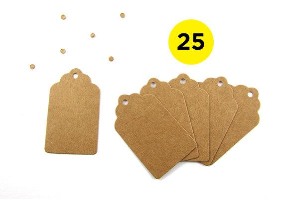 25 Mini Scalloped Kraft Gift Tags
