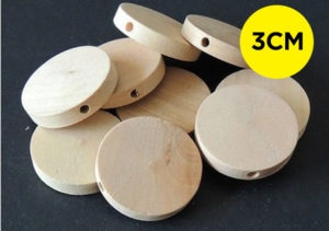 10 Flat Round Natural Unfinished Wooden Beads 30mm