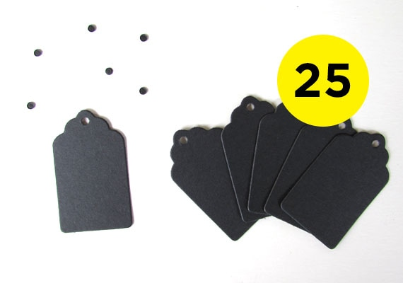 25 Black Gift Tags