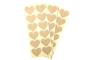 36 Kraft Heart Stickers - Enveloape Seals, Wedding, Valentines