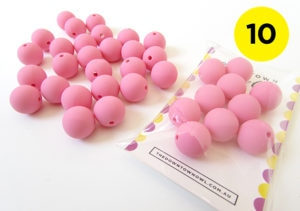 10 Pink Silicone Beads 15mm