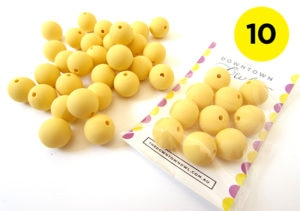 10 Yellow Silicone Beads 15mm