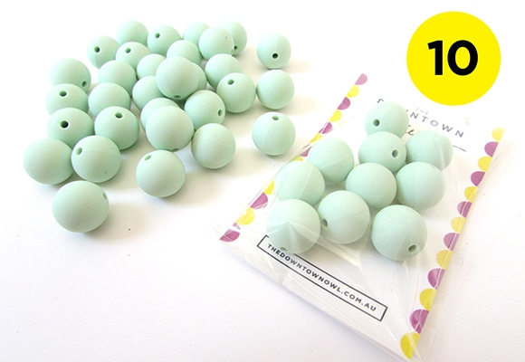 10 Mint Green Silicone Beads 15mm