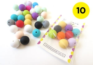 10 Mixed Colour Silicone Beads 15mm